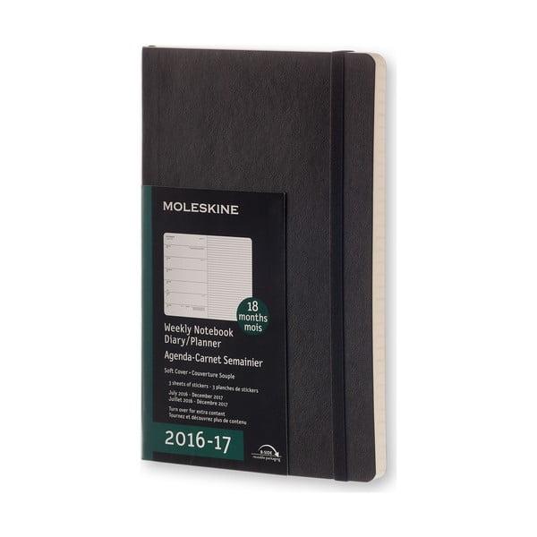 Czarny kalendarz tygodniowy Moleskine Soft, 18 miesięcy, duży