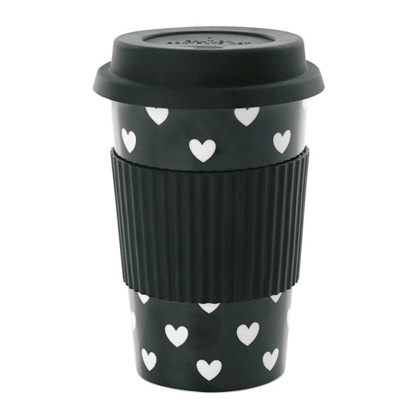 Ceramiczny kubek podróżny White Hearts, 0,5 l