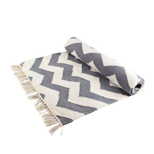 Bawełniany dywan z zygzakiem, szaro-biały