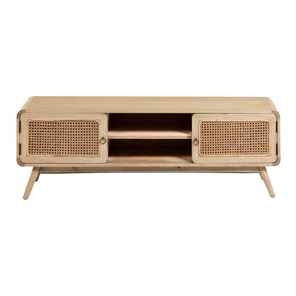 Jasnobrązowa szafka pod TV z litego drewna La Forma Nalu, 150x50 cm