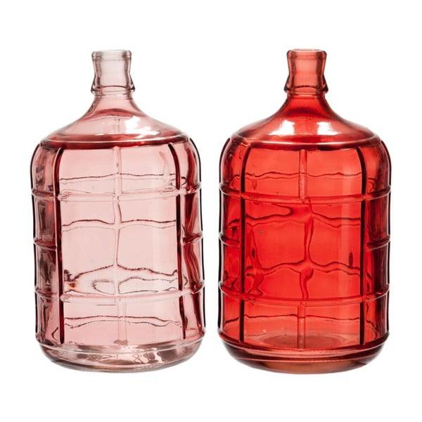 Komplet 2 wazonów Glass Stripe, 15x27 cm