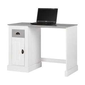 Białe biurko z drewna sosnowego z drzwiczkami Støraa Tommy