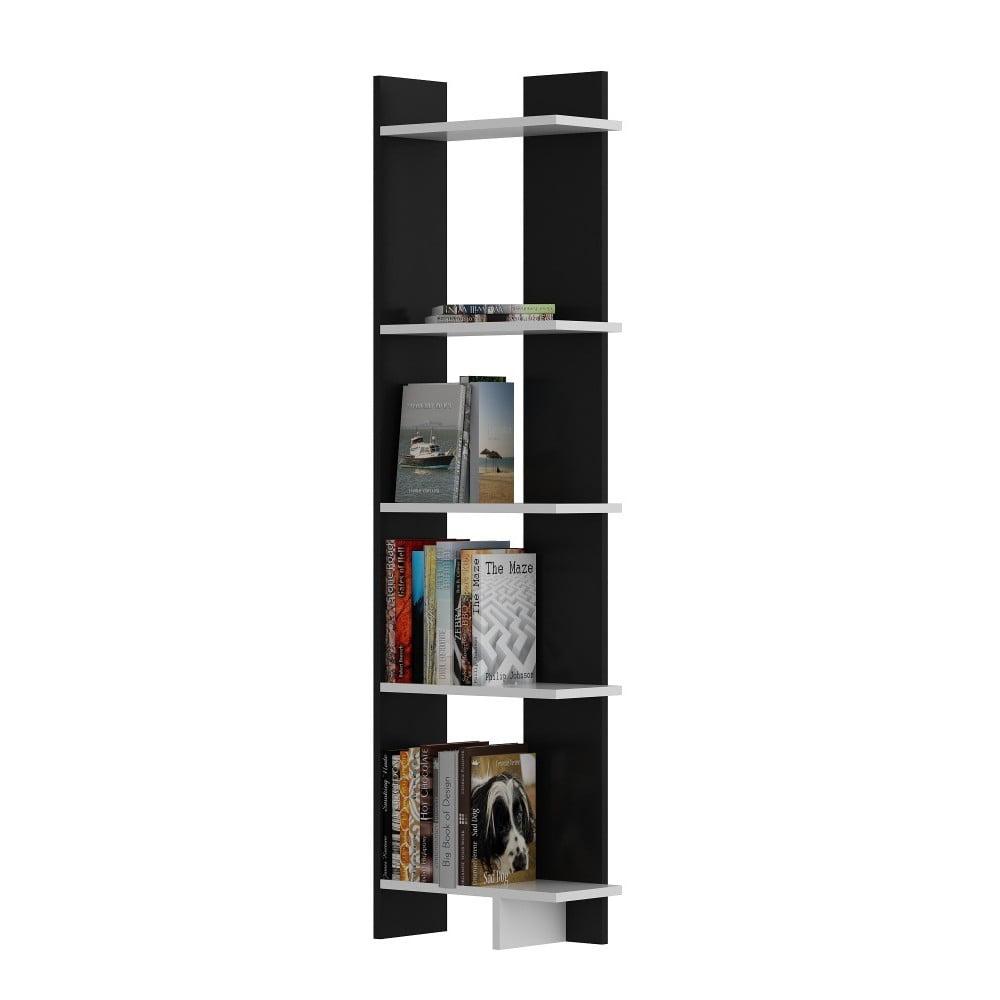 Czarna biblioteczka z białymi detalami Als Black White