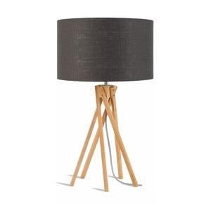 Lampa stołowa z ciemnoszarym kloszem i konstrukcją z bambusa Good&Mojo Kilimanjaro