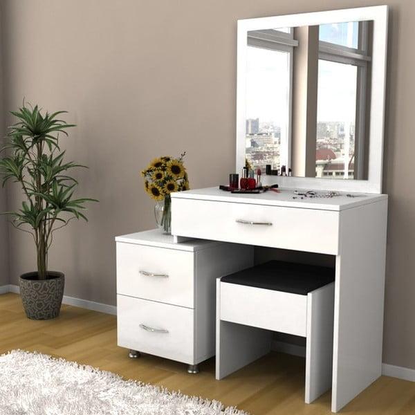 Toaletka z taboretem Nice White