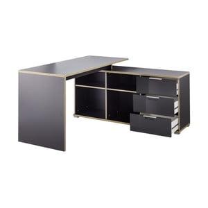 Czarne biurko narożne z szafką z szufladami Germania X