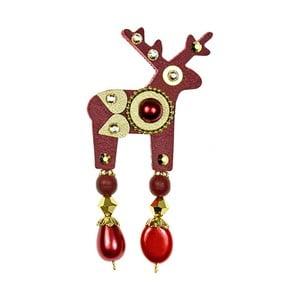 Czerwona  mała broszka Deers Bauer