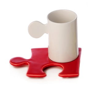 Porcelanowy kubek Puzzle White/Red