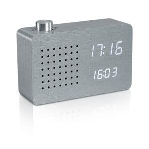 Szary budzik z białym wyświetlaczem LED i radiem Gingko Click Clock