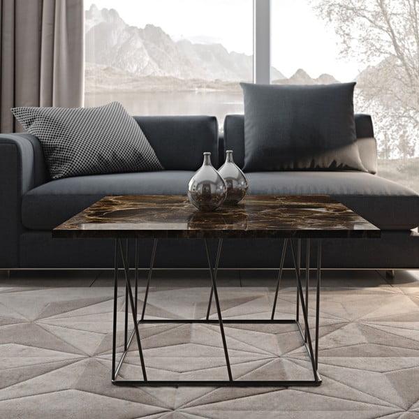 Brązowy stolik marmurowy z czarnymi nogami TemaHome Helix, 75 cm