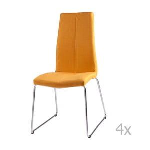 Zestaw 4 żółtych krzeseł sømcasa Aora