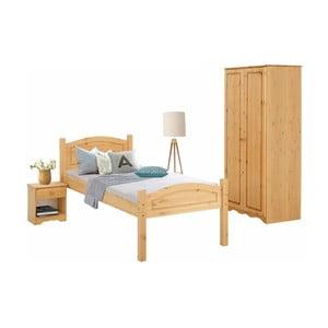 Komplet 3 mebli do sypialni z drewna sosnowego Støraa Bangor