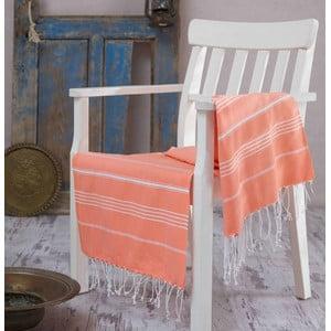 Pomarańczowy ręcznik Hammam Sultan, 100x180 cm