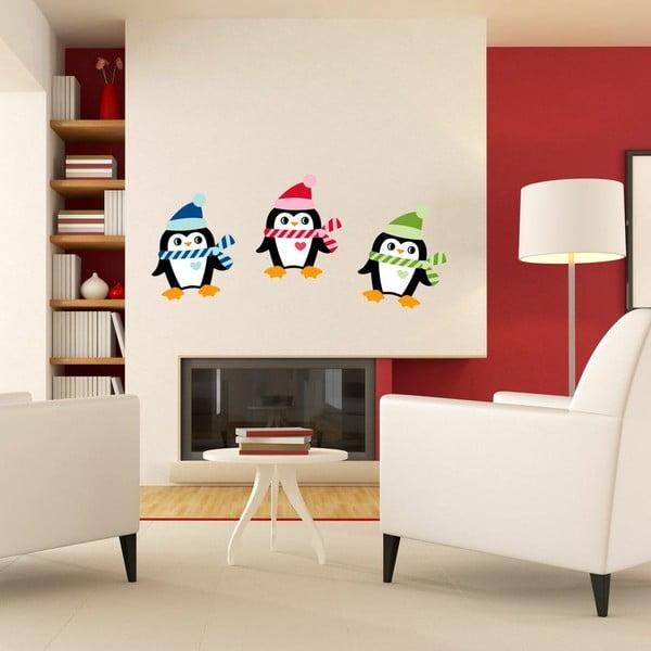 Zestaw 3 naklejek świątecznych Ambiance Christmas Penguins