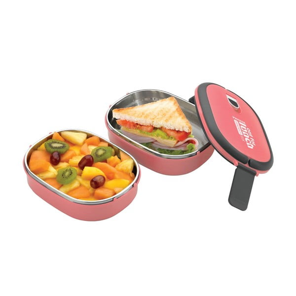Różowy podwójny pojemnik na lunch Pioneer lunchbox