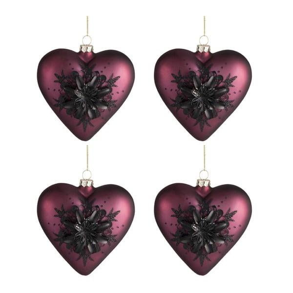Zestaw 4 ozdób świątecznych w kształcie serca Auberg