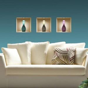 Naklejki na ścianę 3D Vases, 3 szt.