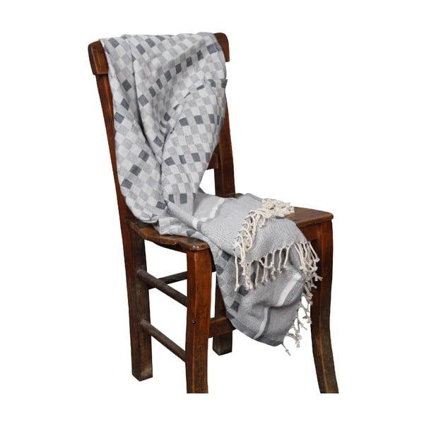 Czarny ręcznik hammam Hera Black, 90x190cm