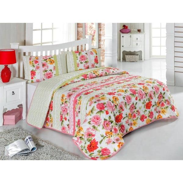 Pikowana narzuta i poszewki na poduszki Amina, 200x220 cm