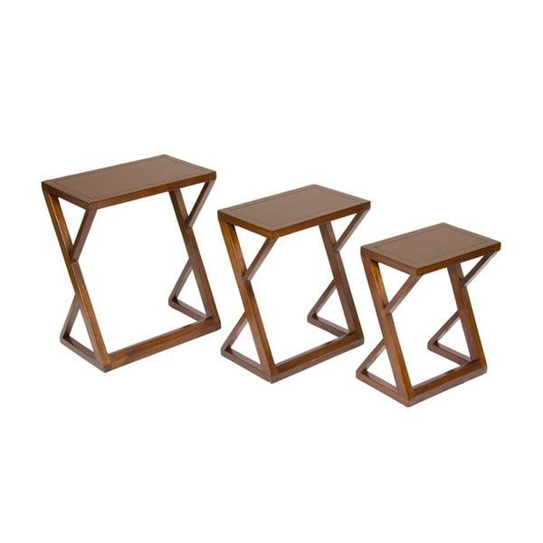 Zestaw 3 stolików z drewna mindi Santiago Pons Classy
