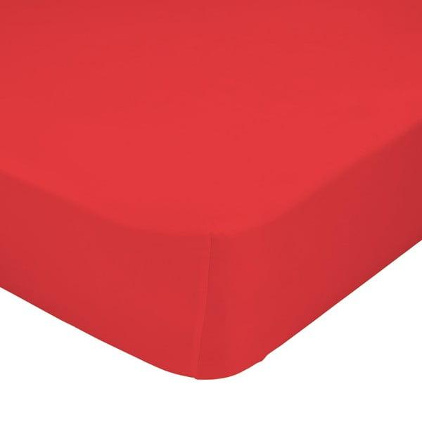 Czerwone elastyczne prześcieradło HF Living Basic, 90x200 cm