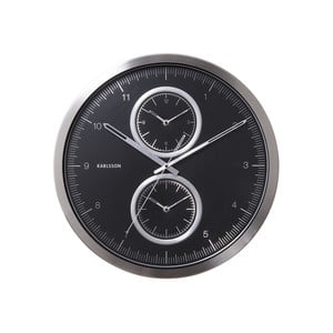 Czarny zegar Present Time Multiple Time