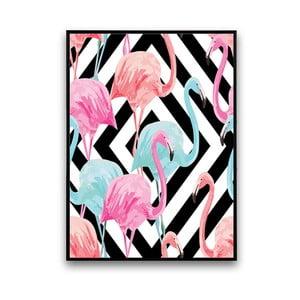 Plakat z flamingami, czarno-białe tło, 30 x 40 cm