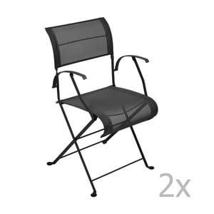 Zestaw 2 czarnych krzeseł składanych z podłokietnikami Fermob Dune