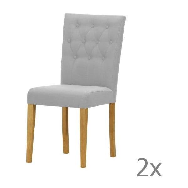 Komplet 2 krzeseł Monako Etna Grey, naturalne nóżki