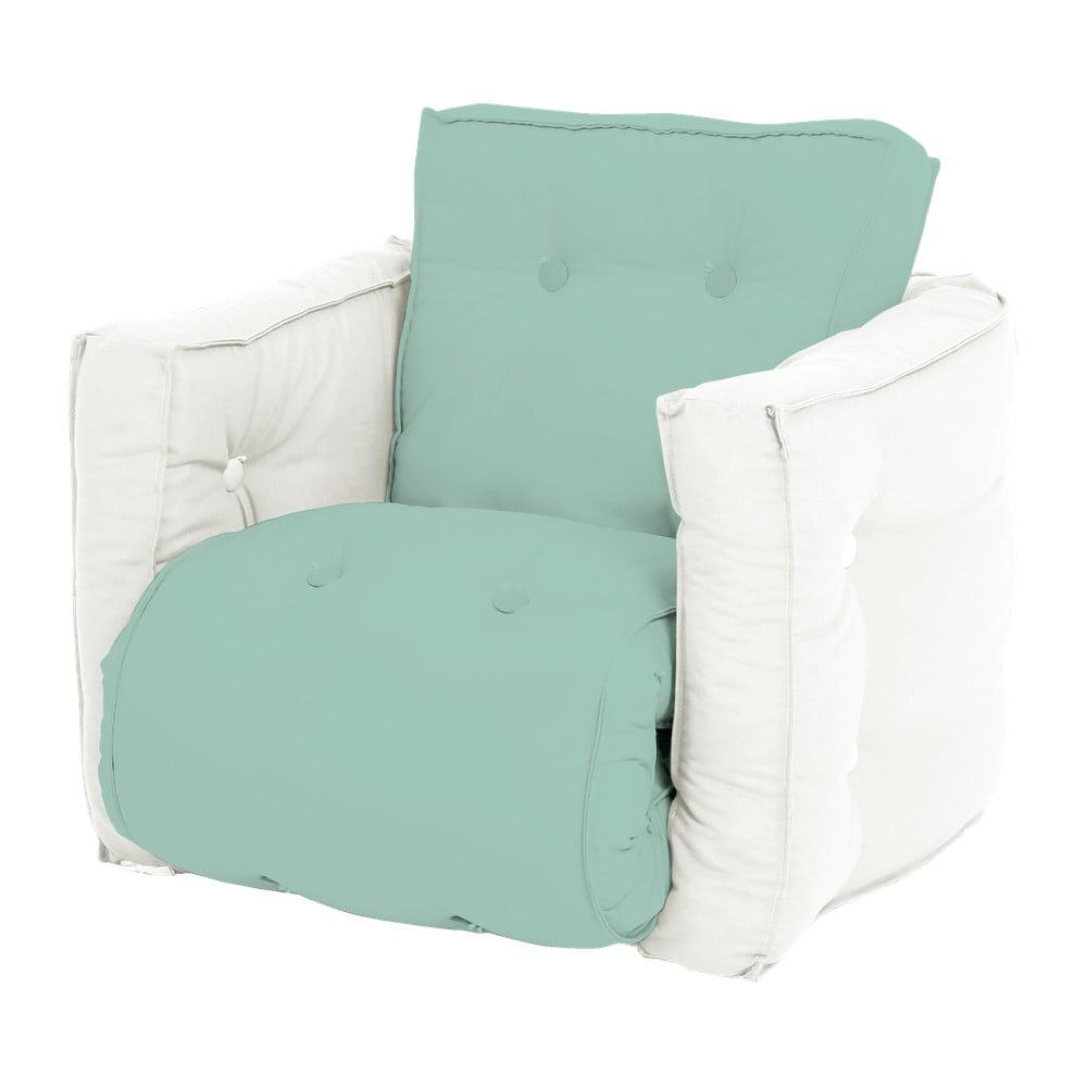 Dziecięcy fotel rozkładany Karup Design Mini Dice Mint/Creamy