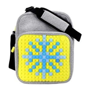 Pikselowa torba na ramię, szara/żółta
