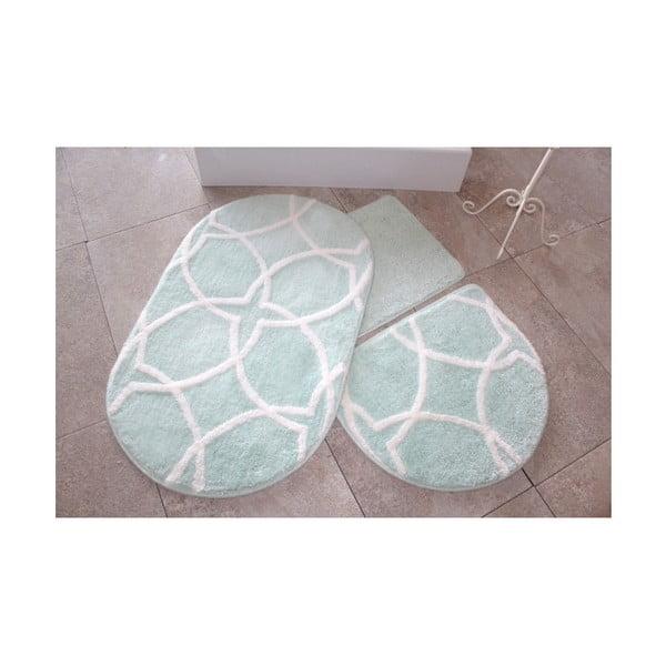 Zestaw 3 miętowych dywaników łazienkowych Confetti Bathmats