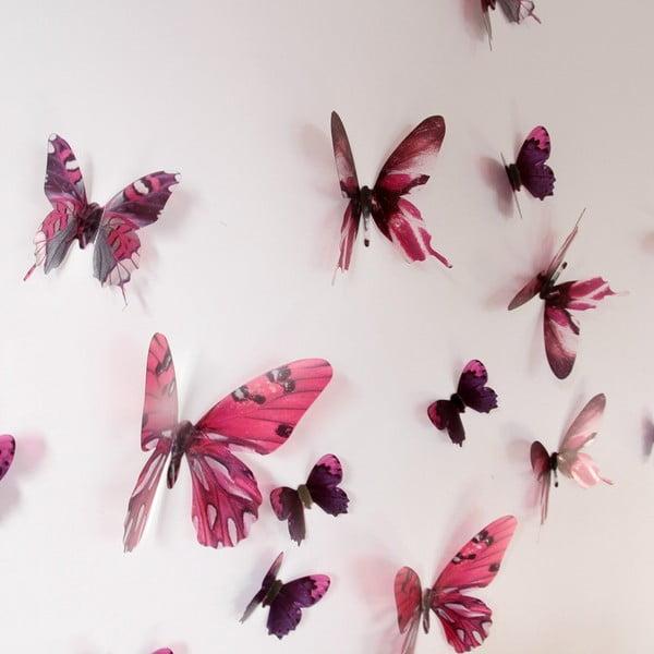 Naklejka Motyle 3D, różowe
