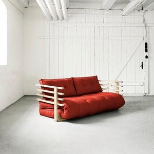 Sofa rozkładana dwuosobowa Karup Funk Natural/Red