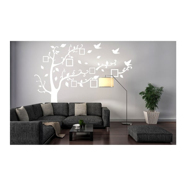 Naklejka dekoracyjna Białe drzewo z ramkami na zdjęcia, 180x250 cm