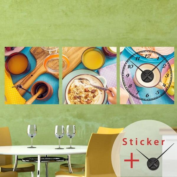 Samoprzylepny zegar Delicious Breakfast, 40x120 cm