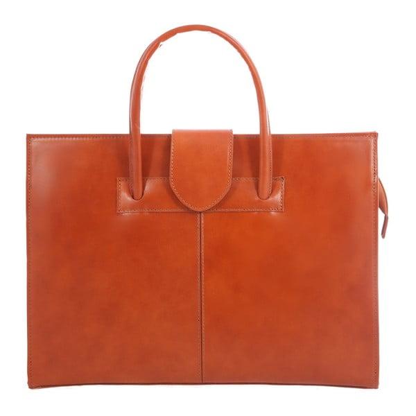 Karmelowa skórzana torba Paola