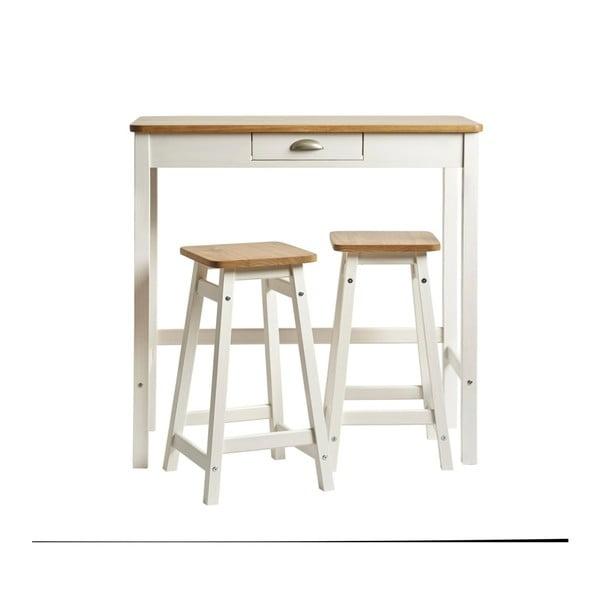Biały stolik barowy z 2 hokerami z litego drewna sosnowego Marckeric Caya