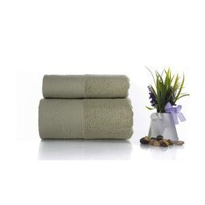 Komplet 2 szarozielonych ręczników z bawełny Ladik Eleanor