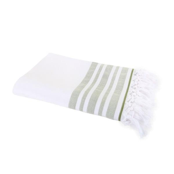 Zielony ręcznik Hammam Leodikia, 100x150 cm