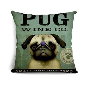 Poszewka na poduszkę Pug Wine, 45x45 cm