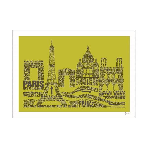 Plakat Paris Green&Grey, 50x70 cm