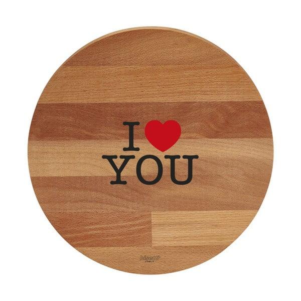 Deska do krojenia z drewna bukowego Bisetti I Love You, ø 30 cm