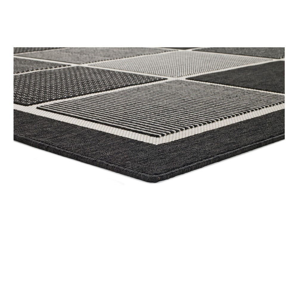 Czarno-szary dywan odpowiedni na zewnątrz Universal Nicol Square, 120x170 cm