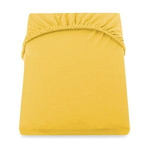Żółte prześcieradło DecoKing Amber Collection, 120-140x200 cm