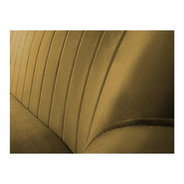 Musztardowa sofa 3-osobowa z czarnymi nogami Mazzini Sofas Benito