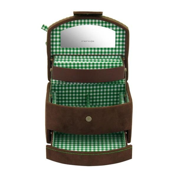 Szkatułka na biżuterię Bagvaria Brown/Green, 16x13x11,5 cm