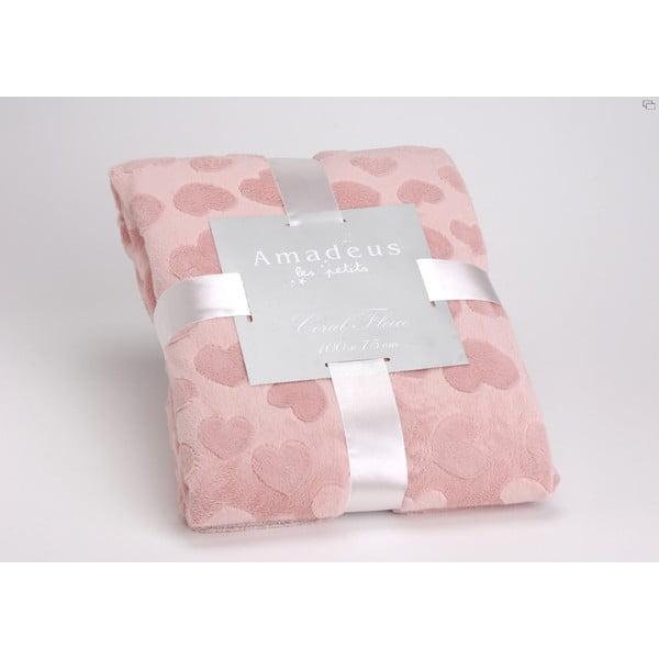Koc Pink Heart, 100x75 cm