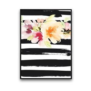 Plakat z kwiatami, czarno-białe prążkowane tło, 30 x 40 cm