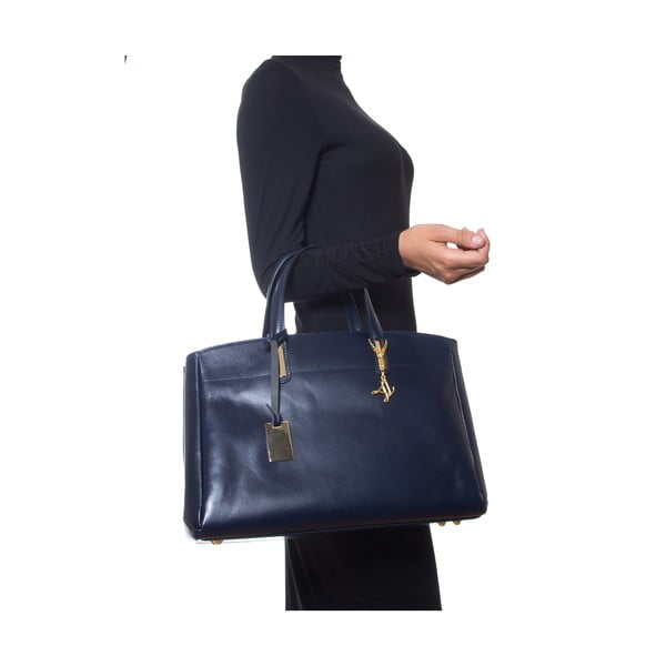Niebieska skórzana torebka Francesca